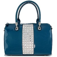 Bling Stones Boston Bag Patent Leather Purse Teal