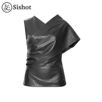 Women punk shirts summer autumn asymmetrical black plain sleeveless sexy v neck asymmetric slim punk blouse