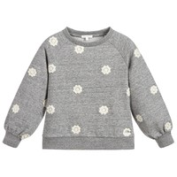Girls Grey Flower Embroidered Sweatshirt