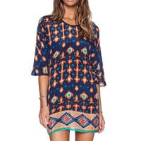Blue And Orange Printed Sleeve Shift Dress