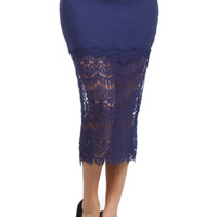 Textured High Waisted Pencil Skirt W/ Lace Trim