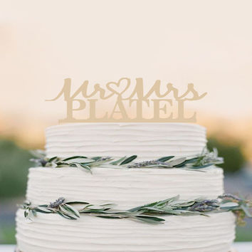 Personalized Wood Cake Topper // Custom // Wedding Topper // Mr and Mrs // Rustic Wedding