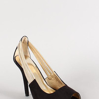 Metallic Strap Faux Suede Peep Toe Pump Color: Nude, Size: 8.5