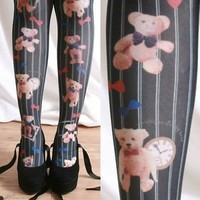 Harajuku Decora Kawaii Lolita Royal Teddy Bear Novelty Tights Pinstripe Black