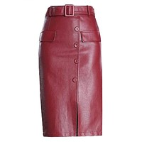 PU Leather Skirt Women Autumn Winter Fashion Plus Size High Waist Skirts Women Midi Slim Leather Skirts Sexy
