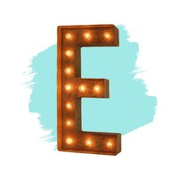 """12"""" Letter E Lighted Vintage Marquee Letters (Modern Font/Rustic)"""