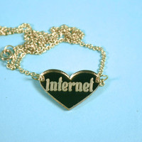Internet Heart Gold Mirror Acrylic Necklace