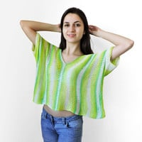 FREE SHIPPING Pure bamboo yarn crop top Green knit womens short blouse Loose short blouse Crop tank Summer top Short sleeve cropped blouse