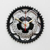 Bicycle Wall Clock, Bike Gear Wall Clock, Steampunk Wall Clock, Unique Wall Clock, Cycling Gear Clock, Gift for Cyclist, Engineering Gift