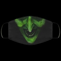 Halloween Green Witch Face Mouth v1 Scary Spooky 2 Ply Lightweight and Breathable Adult Face Mask Halloween Witch Face Covering