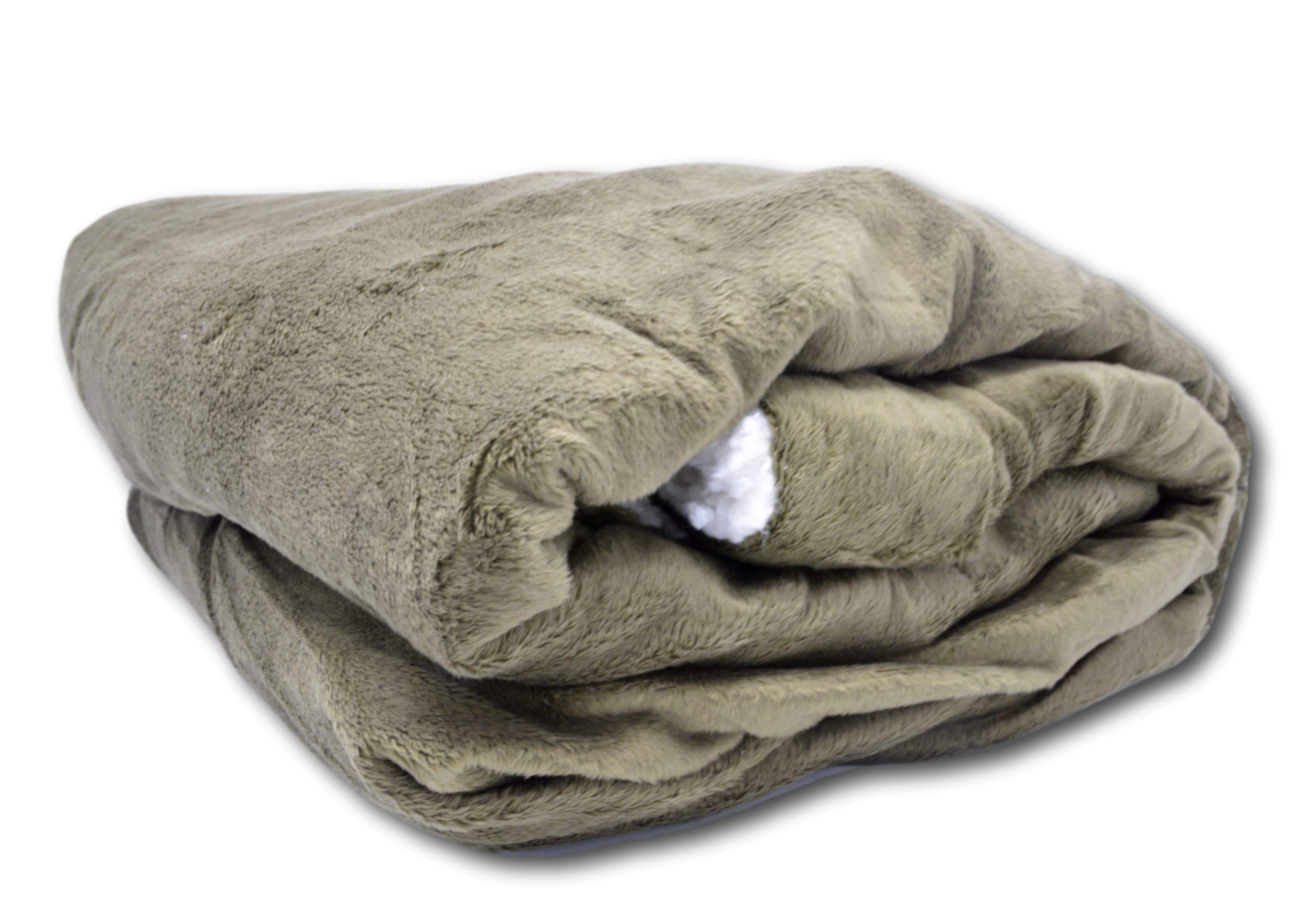 Image of Tache Super Soft Evergreen Micro Fleece with Sherpa Throw Blanket