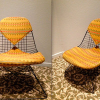 EAMES ALEXANDER GIRARD Fabric Cat's Cradle Base Vintage Herman Miller Black Wire Side Shell Chair Bikini Pad Upholstery Rare Collectible