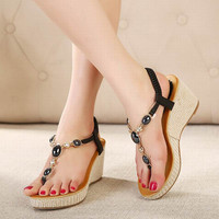 New 2016 Women sandal gladiator sandals women summer wedge shoes woman sandalias platform sandals Thong Beaded Black Shoes