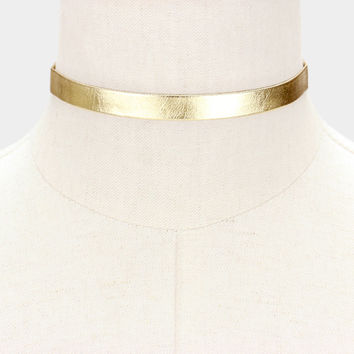 """12"""" metallic collar choker necklace .50"""" wide faux leather"""