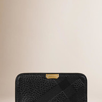 Embossed Check Leather Ziparound Wallet