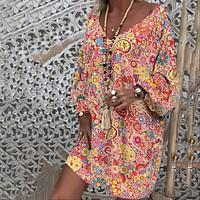 Plus Size Summer Women Mini Dress Floral Print Colorful Long Sleeve Casual Loose Dress V-Neck 2019 Female Beach Mini Dress