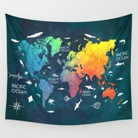 Ocean World Map color Wall Tapestry by Jbjart