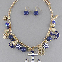 Nautical Anchor Themed Charm Necklace Blue, White and Gold Chain