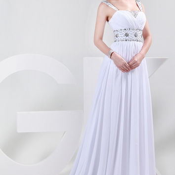 White Crystal Beaded Pleated Maxi Evening Dress
