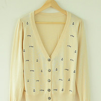 Anchor Embroidery V-Neck Long Sleeve Knitted Cardigan