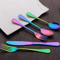 HOMQUEN 20-Piece Rainbow Color Flatware Set, Stainless Steel Titanium Colorful Plated Set, Dinner Knives Forks Teaspoons Silverware Cutlery Set Service for 4