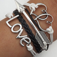 Jewelry Telesthesia Lovers bracelet--silver LOVE,Heart linked to heart and arrow black and white Wax rope Braided leather bracelet