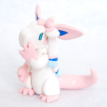 Sylveon dragon hybrid - white dragon hybrid figure - eeveelution fanart - fantasy polymer clay sculpture - fairy Pokemon figurine