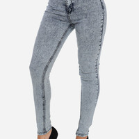 High Waist Light Acid Wash Skinny Jeans