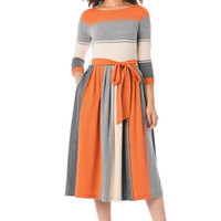 Stripe cotton knit sash tie dress