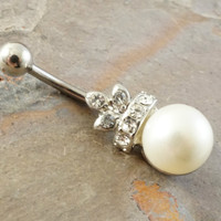 White Pearl and Crystal Crown Belly Button Jewelry Ring