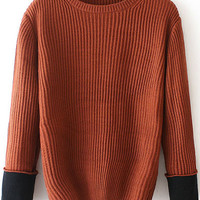Brown Contrast Long Sleeve Sweater