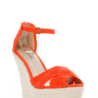 Cross Knit Ankle strap Wedges