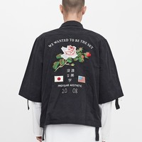 Three-Quarter Raw Sleeve Military Rose Parka in Faded Black