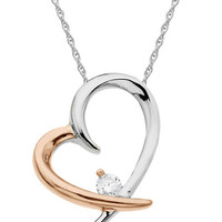 Lord & Taylor 14Kt. Rose and White Gold Diamond Heart Pendant Necklace