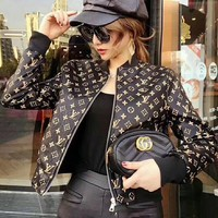 shosouvenir ¡êo LV female Leather clothing Embroidery Loose coat