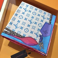 LV Louis Vuitton stitching color embroidery letter tassel scarf silk scarf White&Pink