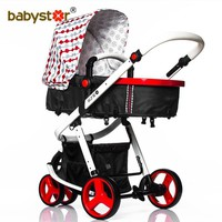 4 colors baby stroller two-way baby car shock absorbers summer folding cart leather handle suspension face mum baby stroller
