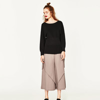 CONTRASTING FLOUNCED TROUSERS DETAILS