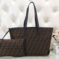 FENDI Newest Fashionable Women Leather Handbag Tote Shoulder Bag Wrist Bag Two Piece Set Black