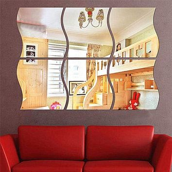 6pcs/set DIY S Shaped Acrylic Mirror Effect Wall Sticker