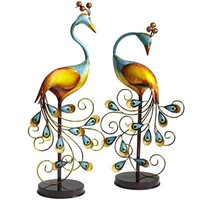 Metal Peacocks With Stands