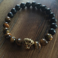 Black & Natural Brown with Gold Lion