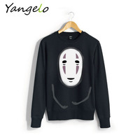 Free Shipping 2016 New Harajuku Hoodies Sweatshirts Punk Pullover Black Coat Japanese Anime Spirited Away S M L XL