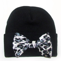 Black Beanie with White Leopard Bow