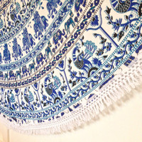 Indian White Blue Elephant Round Roundie Mandala Tassel Fringe Tapestry Wall Hanging Throw Beach Picnic Blanket Bed Sheet < Uk SELLER >