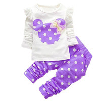 Minnie Mickey Printed Clothing Girl Baby Sets Long Sleeve Cotton Toddler Baby Girl Clothes T-Shirt+Pant 2 PCS Sets