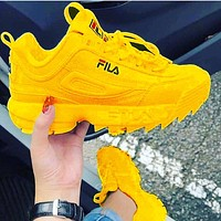 Alwayn FILA Disruptor 2 Retro Vintage Sneakers Daddy Shoes yellow