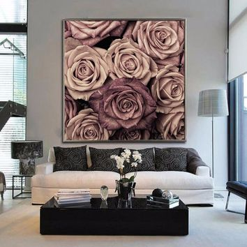 Posters and Prints Pink Floral Lovely Color Flower Canvas Painting Romantic Wall Art Picture pictures Paintings for living room