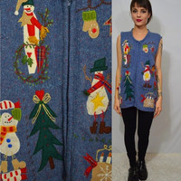 Ugly Christmas Sweater Vest XL Vintage 90s Tacky Snowman Tree Holiday Ugly Sweater Party Cheap Womens Clothing Embroidered felt Appliques