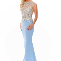 Precious Formals C70151 Cap Sleeve Sheer Illusion Jersey Mermaid Prom Dress